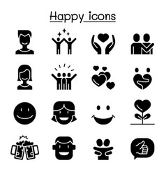 happy icon set graphic design vector image
