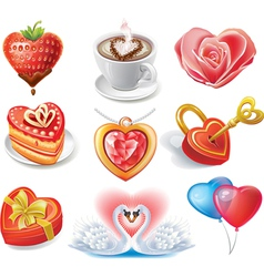 heart-shaped set vector image