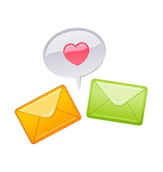 Icon mail and heart shape vector