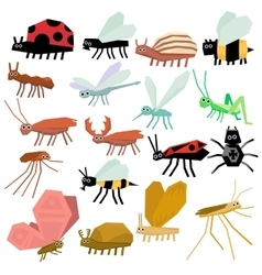Insects Flat Set vector image