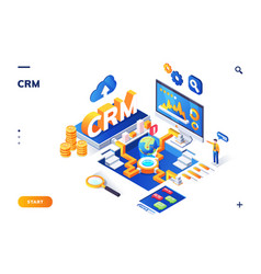 isometric banner for crm or erp customer client vector image