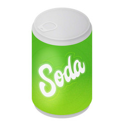 isometric green soda can icon vector image