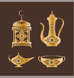 lantern and mug collection vector image