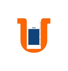 letter u and phone logo designs inspiration vector image