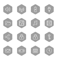 Line web icon set on gray hexagon vector