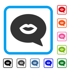 Lips smiley message framed icon vector