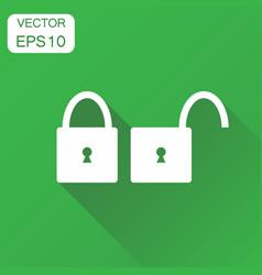 Lock unlock icon business concept locker security vector