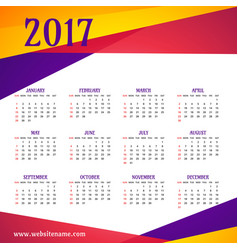 Modern colorful 2017 calendar template vector