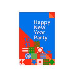 new year christmas greeting card poster geometric vector image