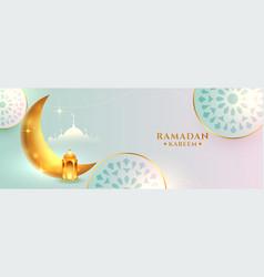 Nice ramadan kareem islamic banner with golden vector