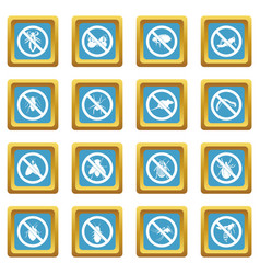no insect sign icons azure vector image