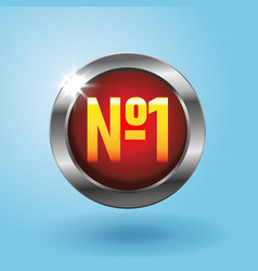number one red button on blue background best vector image