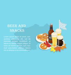 October fest beer snack banner isometric style vector
