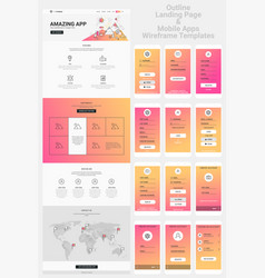 one page website and mobile apps wireframe kit vector image
