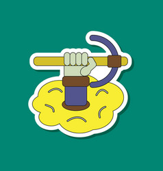 Paper sticker on stylish background hammer in vector