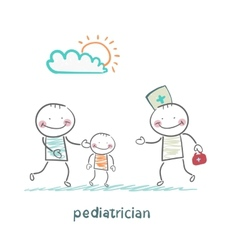 Pediatrician takes dad with a sick child vector