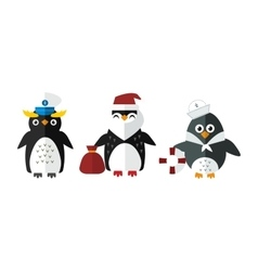Penguin sailor santa animal character vector image