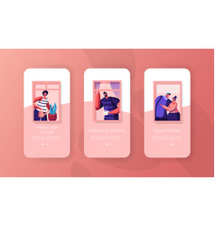 people at home mobile app page onboard screen set vector image