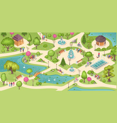 people in city park rest and leisure activity vector image