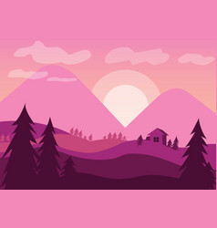 pink sunset vector image