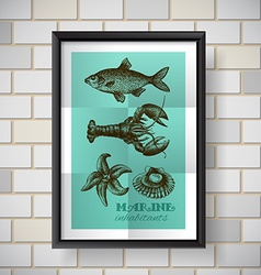 poster sea food vector image