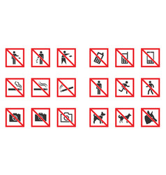 prohibition sign set - no smoke no dogs no phone vector image