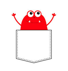 Red monster silhouette in the pocket hands up vector