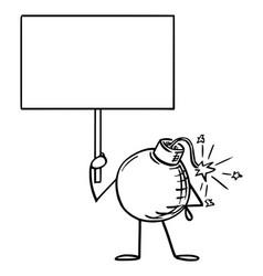 retro bomb cartoon character holding empty sign vector image