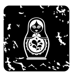 Russian nesting doll icon grunge style vector