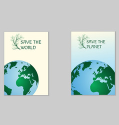 Save the world ecological poster vector