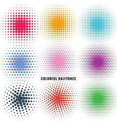 Set of colorful halftones vector