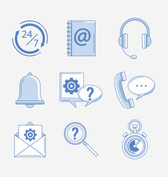 set of customer service icons vector image