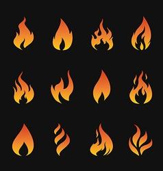 set of flame symbols vector image