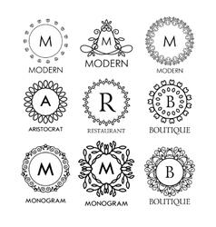 Set of luxury simple and elegant blue monogram vector image