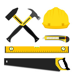 set of repair construction tools worker kit in vector image