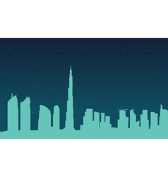 Silhouette of Dubai city at night vector image