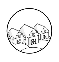 Silhouette round symbol farms at night with the vector