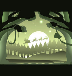 silhouette santa claus and reindeer in forest vector image