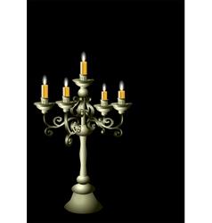 Silver candelabrum with cadles vector