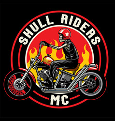 Skull with chopper motorcycles vector