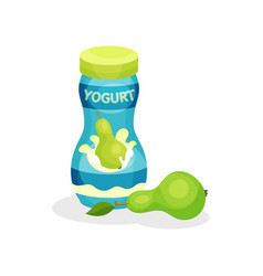 small plastic bottle of delicious yogurt and ripe vector image