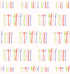 spoon fork knife cutlery pattern seamless vector image