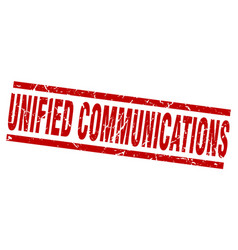 Square grunge red unified communications stamp vector
