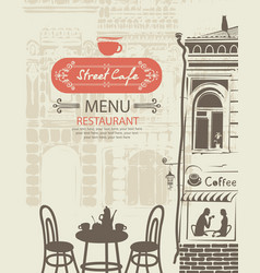 Street cafe menu with table for two in an old town vector