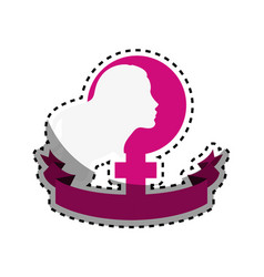 Symbol woman day with ribbon and girl inside vector