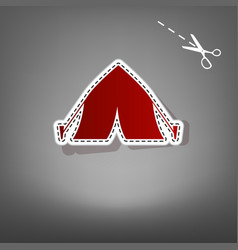 Tourist tent sign red icon with for vector