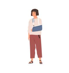 Unhappy woman with broken hand in gypsum sad vector