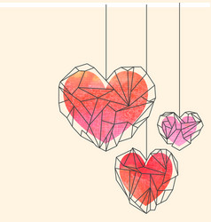 Valentine card template with watercolor crystal vector
