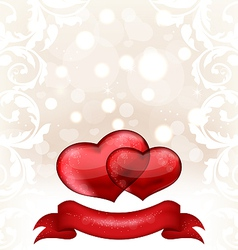 Valentines day or wedding invitation with hearts vector image
