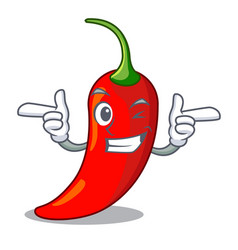 Wink character red chili pepper for seasoning food vector